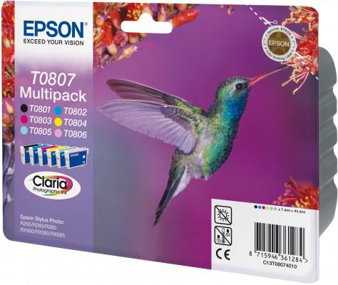 Náplně do tiskárny Epson Stylus Photo R285, sada černá, modrá, červená, žlutá, světle modrá, světle purpurová