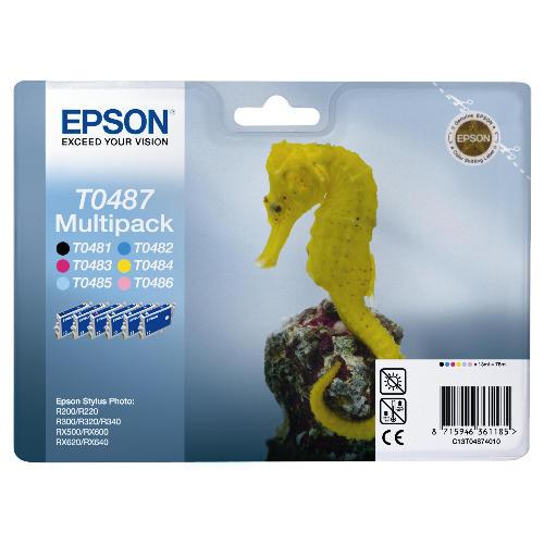 Náplně do tiskárny Epson Stylus Photo R200, sada černá, modrá, červená, žlutá, světle modrá, světle purpurová