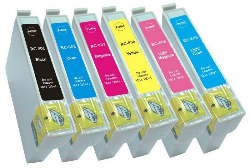 Náplně do tiskárny Epson Stylus Photo RX600, sada náhradních černá, modrá, červená, žlutá, světle modrá, světle purpurová